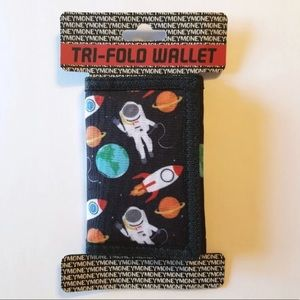 ASTRONAUTS & SPACESHIPS BLACK TRIFOLD WALLET